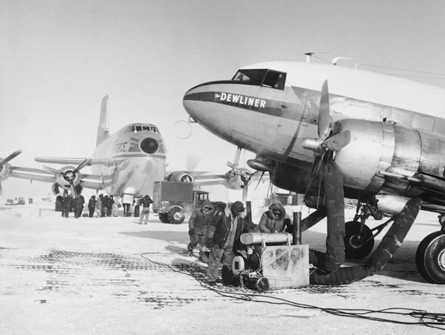 A USAF C-124 Globemaster on an Alaskan runway in 1956 (AP)