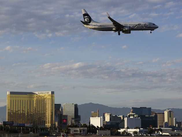 An Alaska Airlines flight over Las Vegas (Julie Jacobson/AP)