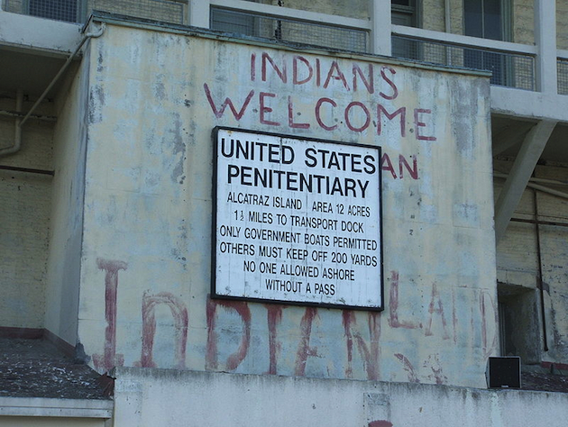 Native American graffiti on Alcatraz (Wikicommons)