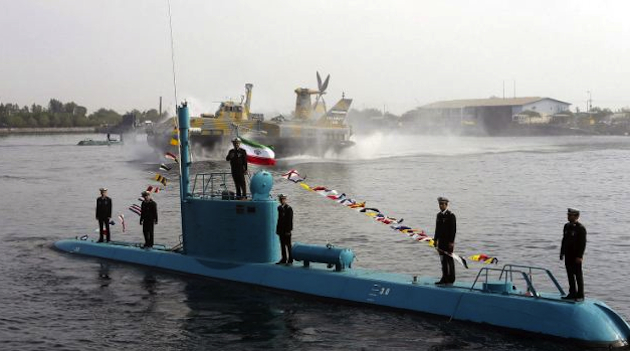 The Iranian Navy's new blue submarine (AP)