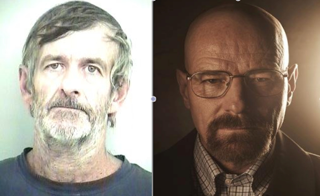 The real (left) and fictional Walter Whites (Tuscaloosa Sheriff's Office/AMC)