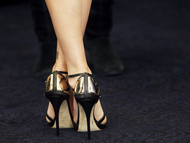 Actress Charlize Theron's high heels at a recent press event. (Michael Sohn/AP)