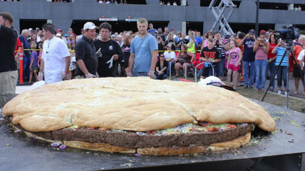 The world's largest cheeseburger on display (Black Bear Casino/AP)