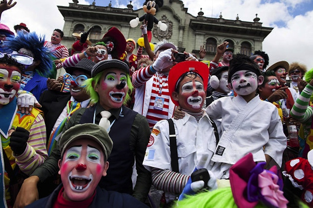 Participants in the fourth annual Latin America Clown Congress (AP)