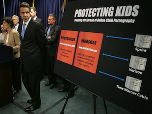 New York Gov. Andrew Cuomo unveils an anti-child pornography initiative while serving as Attorney General (AP/Bebeto Matthews)