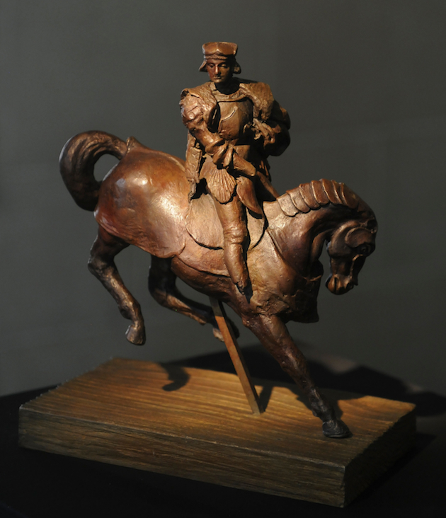 "The first bronze casting of Leonardo da Vinci's original ""Horse and Rider"" wax sculpture (Jolson PR)"