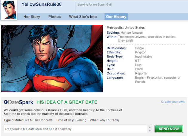 Superman's online dating profile (Match.com)