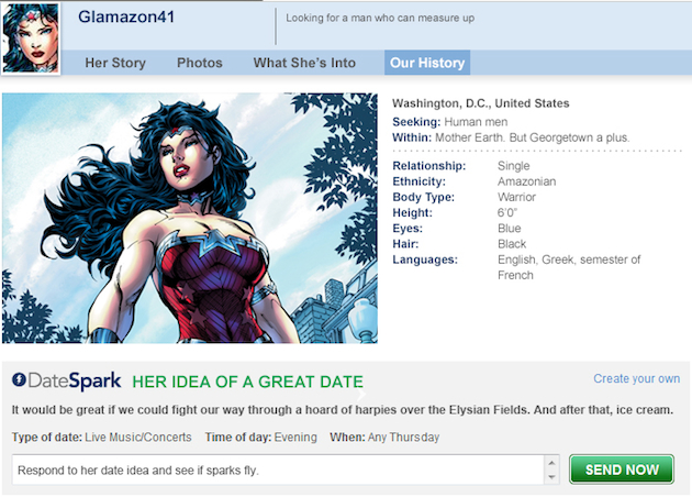 Wonder Woman's online dating profile (Match.com)