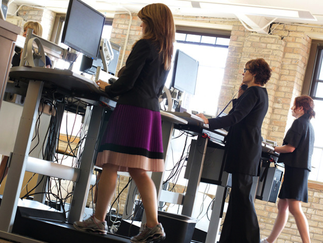 Workers at the financial consulting firm Salo use their treadmill desks. (Salo LLC/NPR)