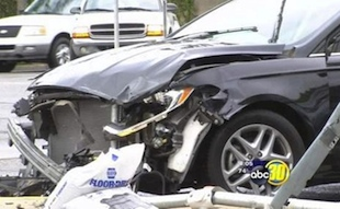 A recent four car driving accident was blamed on distracted driving (KFSN-TV)