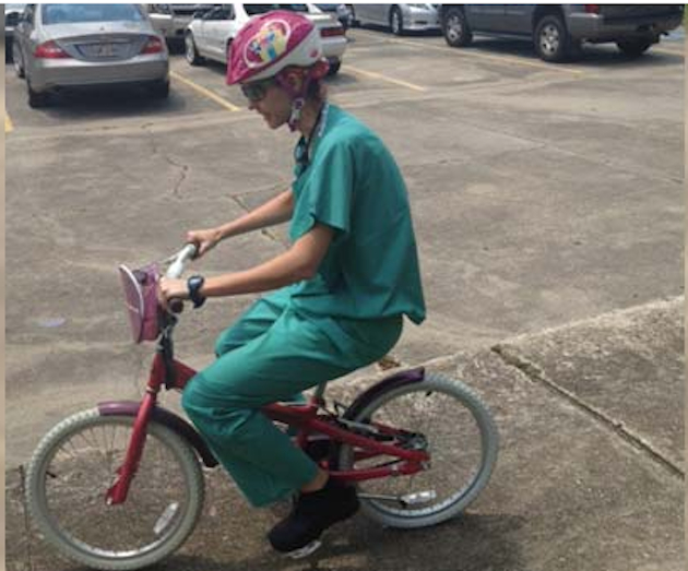 Dr. Catherine Baucom rides to the rescue. (BRASS Surgery Center)