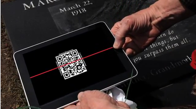 A smartphone can now be used at some grave sites to learn more info about the departed. (Quiring Monuments)