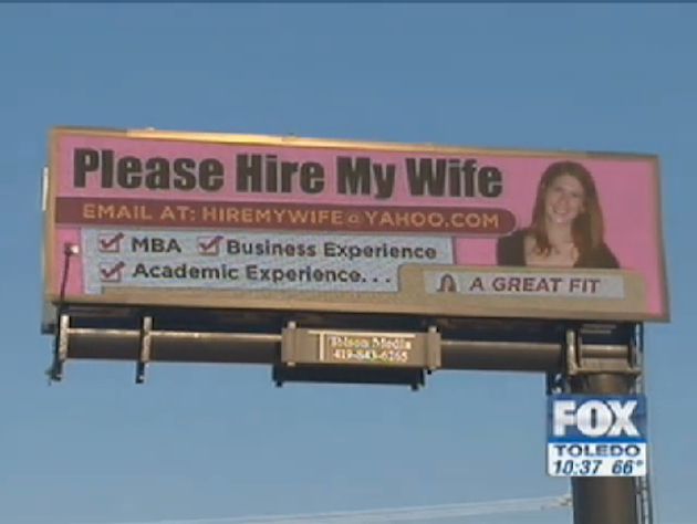 Holly Stuard's husband has purchased a billboard to help his wife's job search (ToledoNewsNow.com)