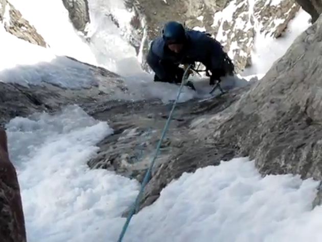 The ice slips beneath a mountain climber in Colorado. (YouTube)
