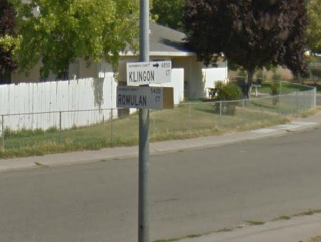 The corner of Klingon and Romulan courts in Sacramento. (Yahoo News/Google Earth)