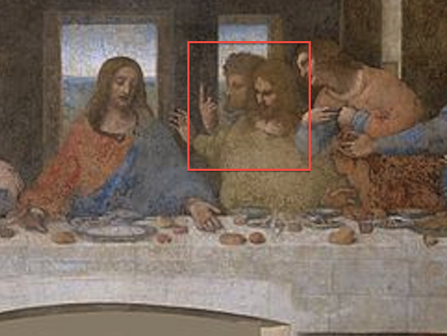 "Could both of these ""Last Supper"" figures be da Vinci self-portraits? (Original image, Wikicommons)"