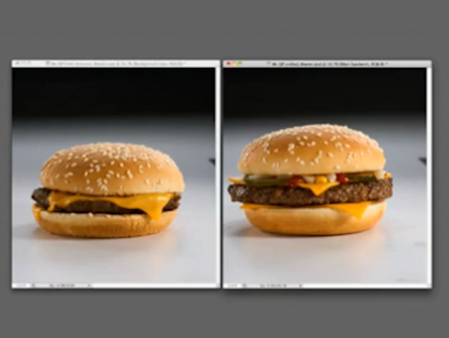 A McDonald's cheeseburger compared with the same burger styled for photography (YouTube/McDonald's Canada)