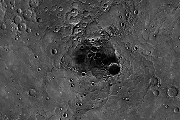 New evidence suggests Mercury's north polar region contains large deposits of ice. (NASA/Johns Hopkins University)