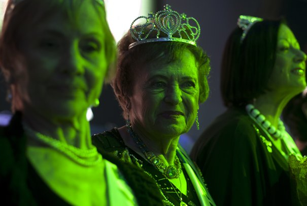 "Contestants in the ""Miss Holocaust Survivor"" contest take the stage. (Sebastian Scheiner/AP))"