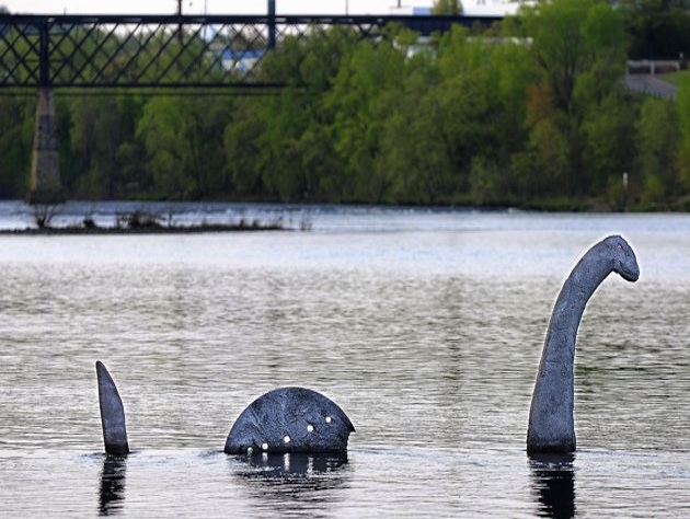 A sculpture of the Loch Ness Monster in a Wisconsin river (AP/Eau Claire Leader-Telegram/Dan Reiland)