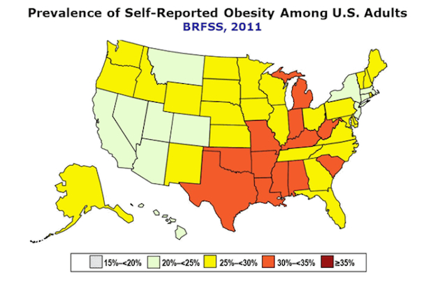 Obesity rates in the U.S. (Centers for Disease Control)