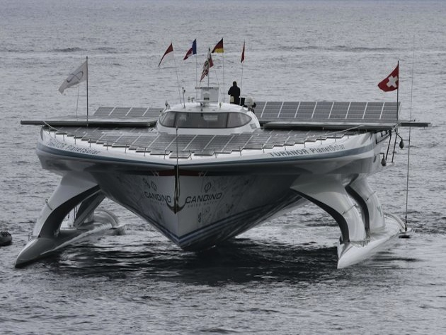 The MS Turanor PlanetSolar arrives in Monaco after completing its voyage. (Bruno Bebert/AP)