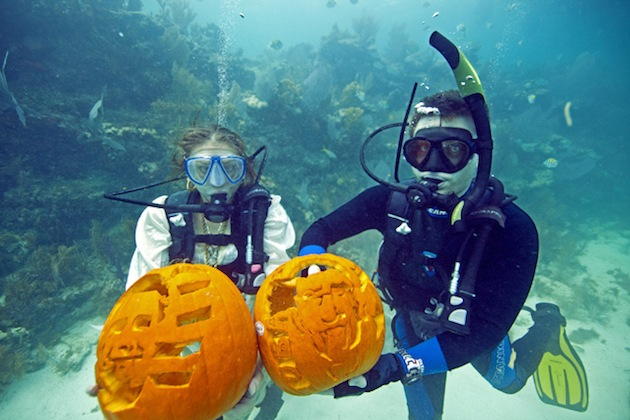 This year's underwater pumpkin carving contest had a political theme. (Florida Keys News Bureau)