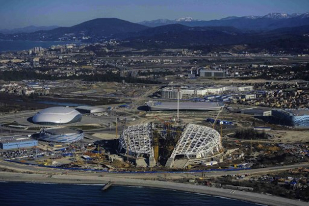 Olympic sites under construction in Sochi, Russia, in March, 2013. (Reuters)