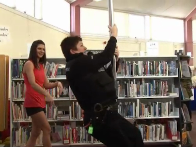Police Officer Lindsey Hughson participates in her library's pole dancing class. (STV Edinburgh)