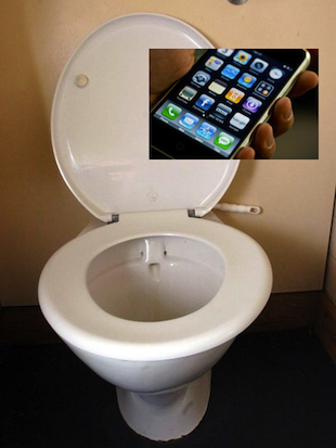 A new U.N. report says more people have access to cellphones than toilets (original images, AP)