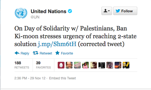 The United Nations Twitter account was quick to fix and acknowledge its typo (Twitter)