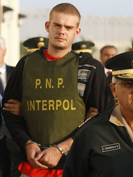 Van der Sloot, being arrested by Peruvian authorities on June 7, 2010. (Karel Navarro /AP)