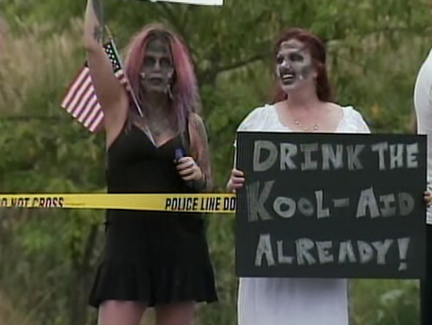 Hundreds of protestors dressed as zombies turned out to support the troops (KIRO-TV.com)