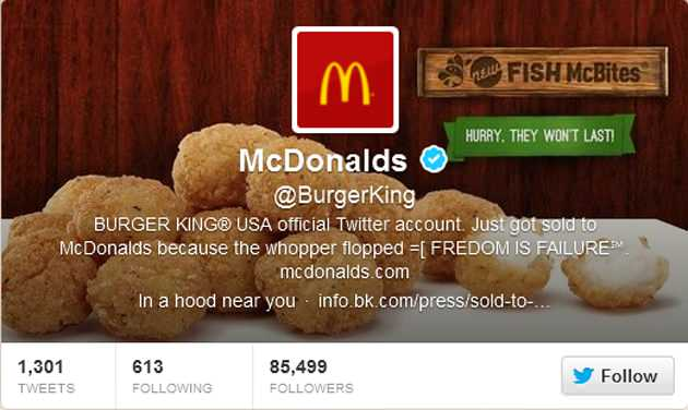 Screen grab of the breached Burger King Twitter page.