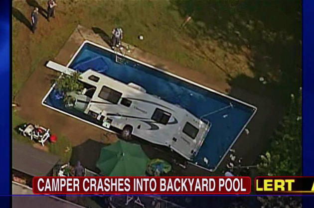 Aerial image shows police surrounding the partially submerged RV. (Fox News)