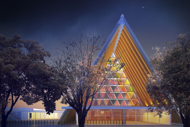 An artist's rendering of the proposed cardboard cathedral (AP/Anglican diocese of Christchurch)