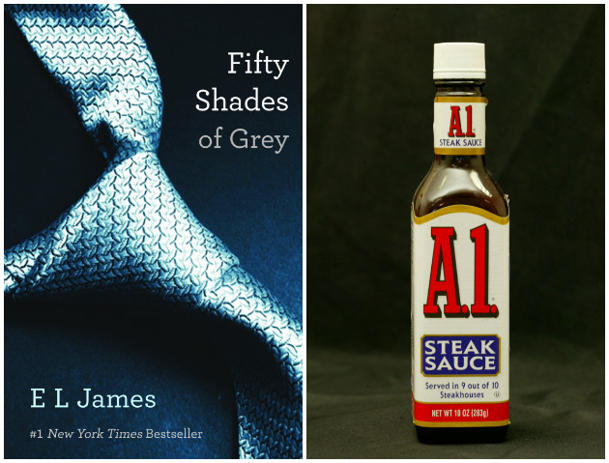 """Fifty Shades of Grey,"" left, and a bottle of A.1. steak sauce. (Yahoo! News/AP)"
