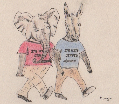 Elephant and donkey / Kelly Savage