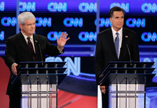 Newt Gingrich and Mitt Romney debate in Florida in January. (Joe Raedle/Getty Images)