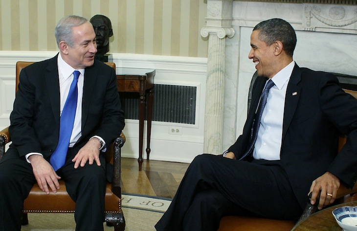 President Barack Obama (R) meets with Prime Minister Benjamin Netanyahu in the Oval Office in March. (Mark Wilson/Getty Images)