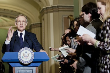 Senate Majority Leader Harry Reid (D-NV) speaks to the media after a weekly policy meeting at the Capitol in March 2012 (T.J. Kirkpatrick/Getty Images)
