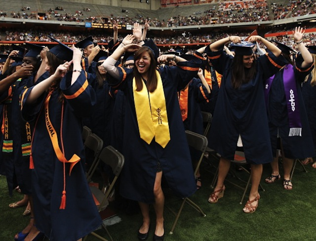 Syracuse University graduates at the 2012 commencement on May 13, 2012 at the Carrier Dome in Syracuse, New York. (Nate Shron/Getty Images)