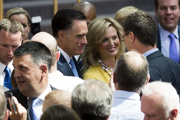Ann and Mitt Romney in a visit to Poland, Warsaw in July. (Carsten Koall/Getty Images)