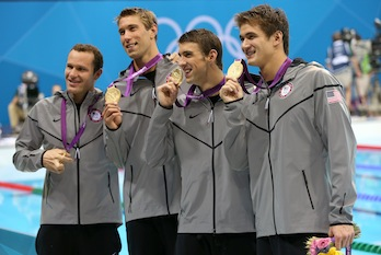 Gold medalists Brendan Hansen, Matthew Grevers, Michael Phelps and Nathan Adrian of the United States pose following the medal ceremony for the Men's 4x100m Medley Relay Final (Jeff Gross/Getty Images)