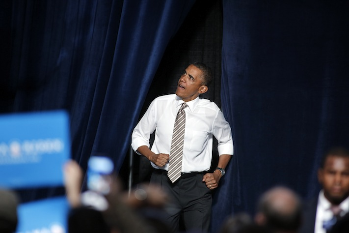 President Barack Obama makes his way to the stage at a campaign rally in Colorado (Marc Piscotty/Getty Images)