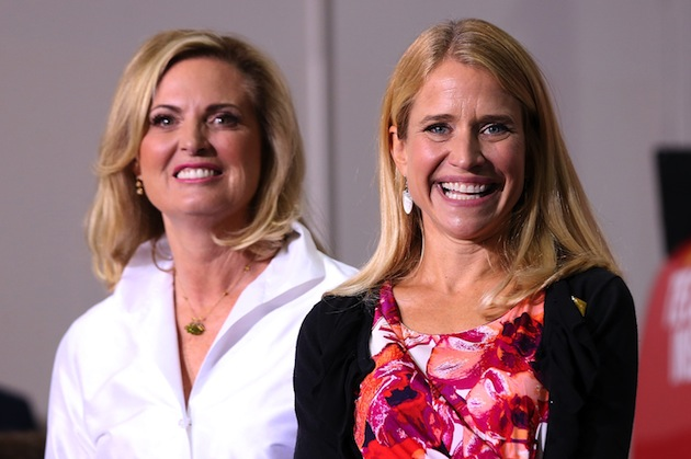 Janna Ryan, right, wife of GOP vice presidential candidate Rep. Paul Ryan, with Ann Romney during a campaign rally at the NASCAR Technical Institute on Aug. 12, 2012 in Mooresville, N.C. (Justin Sullivan/Getty Images)