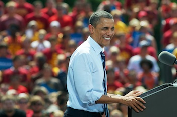 President Obama at a campaign event at Iowa State University last week (David Greedy/Getty Images)