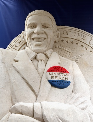 A sand sculpture of Barack Obama in Charlotte advertises vacation destination Myrtle Beach (Streeter Lecka/Getty Images)