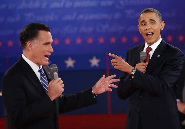 Obama and Romney, talking over each other. (John Moore/Getty Images)