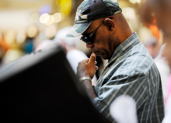 A man ponders his vote in Las Vegas. (David Becker/Getty)